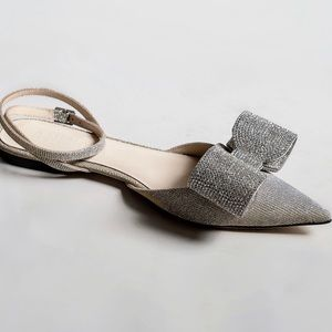 Silver & Gold Pointed Toe Lurex Flat W Crystal Bow